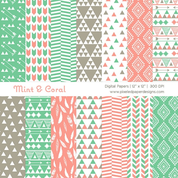 Tribal Digital Paper - Mint & Coral Aztec Inspired Ethnic Patterns for Scrapbooking, Background, etc | Commercial License Available.