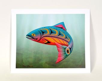 "Signed Salmon Print Northwest Coast Native Art 13"" x 16"" Indigo Art Print"