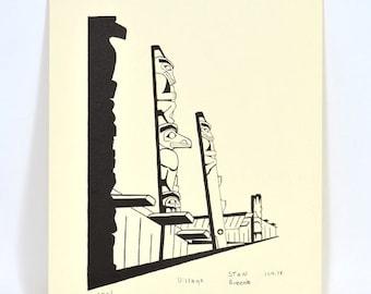 Vintage Haida Totem Poles Monochrome Serigraph Print Salish Artist Stan Greene