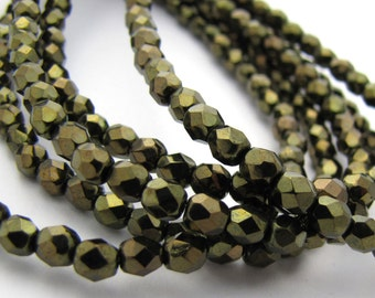 Metallic Olive Green 4mm Facet Round Czech Glass Fire Polished Beads 50pc #2805