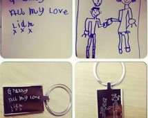 Engraved Premium Rectangle Keyring Unique Gift With Kids Drawing