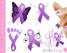 Nail Art Decals Stickers Relay For Life Purple Ribbon Cancer Awareness Hope RIB905