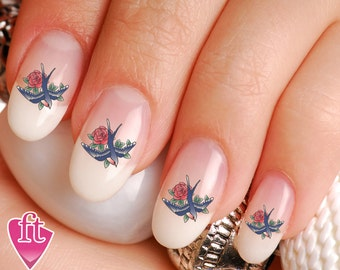 Swallow Sparrow Rose Tattoo Inspired Nail Art Decal Sticker Set BRD146