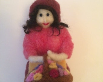 needle felted doll, Wool doll, wool felted doll, needle felted peasant doll with flower basket, needle felted doll,