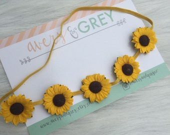 Dainty  Sunflower Halo Headband - Paper Flower  - Newborn Photography Prop - yellow Flower Headband - baby - infant - toddler