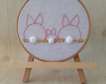 made to order . bunny family embroidery hoop . customize to suit your family . ooak . new parents . housewarming