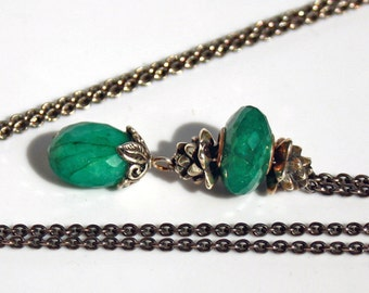 925 Silver Fantasy-Necklace with faceted Emerald,