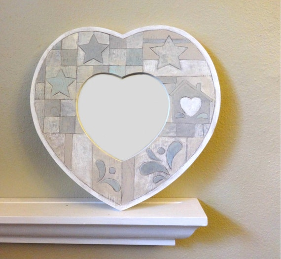Sale heart shaped mirror upcycled art home decor for Heart shaped decorations home