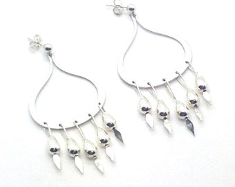 Hanging Feathers, Sterling Silver, Rhodium, Brass, Teardrop, Post Earrings, Gift Idea