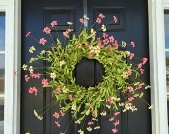 Pink and cream wildflower wreath. spring wreath. summer wreath. wildflower wreath. door wreath, mothers day wreath