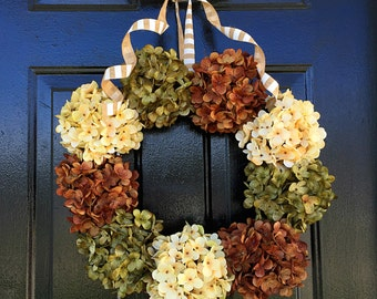 Fall wreath for door, fall hydrangea wreath, fall wreath, fall door wreath, fall decor