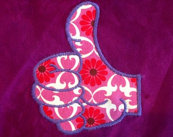 Thumbs up! It's all good with this silly applique and embroidery design.  Thumbs up (a-ok) design in 5 different versions