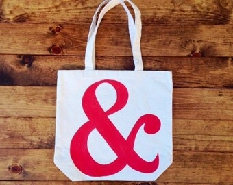 Tote Bag, Cotton Tote, Red Ampersand, Hand painted