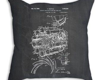 Jet Engine Patent Pillow, Aviation Art, Airplane Pillow, Airplane Bedding, Aviation Nursery, PP0014