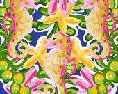Preppy Seahorse Jungle digital paper - Original Art download, pink green yellow digital paper, preppy download