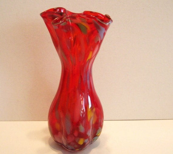 Red Art Glass Vase End of Day Handkerchief Top Ruffled Pinched Ruffled Handkerchief Glass Vases Bedford, A