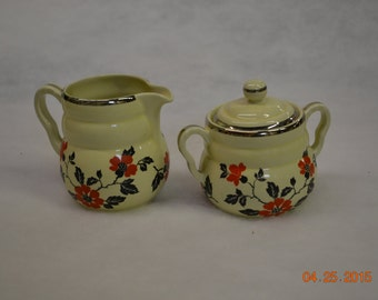 SALE! Vintage Hall's Superior Quality Kitchenware, Red Poppy Radiance design, cream & Sugar, made in the USA