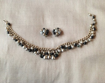 Stunning 1950s black, silver and grey pearl and bead necklace and clip earrings set