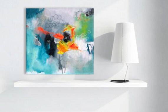 Originale peinture abstraite art moderne peinture acrylique - Peinture abstraite coloree ...