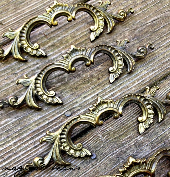 French Provincial Kitchen Door Handles: French Provincial Drawer Pulls Brass Drawer Pulls Vintage