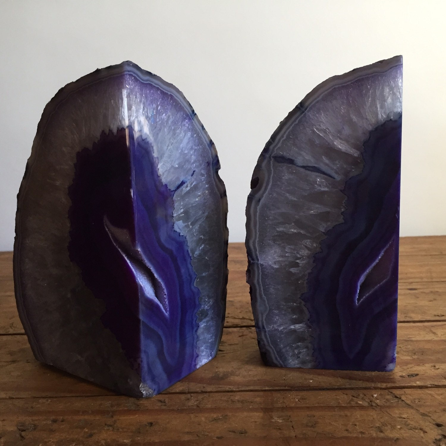 Extra large purple geode agate bookends by northforkvintageshop - Geode bookends ...
