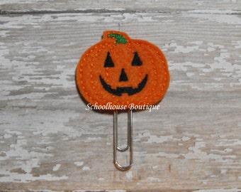 Pumpkin felt paperclip bookmark, felt bookmark, paperclip bookmark, feltie paperclip, christmas gift, teacher gift