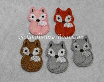 Fox felties, feltie, machine embroidered, felt applique, felt embellishment, hairbow center, scrapbook embellishment