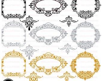80%OFF Fancy frames clipart, Victorian clipart frames, Victorian frame, wedding frame, commercial use,  digital images, AMB-804