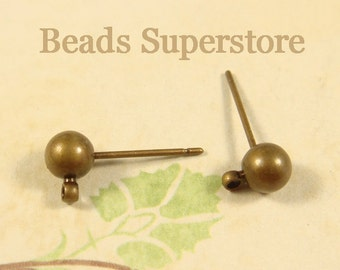 5 mm Antique Brass Ball Post Ear Stud - Nickel Free, Lead Free and Cadmium Free - 10 pcs