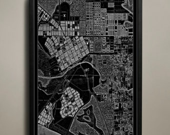 MELBOURNE Map Print, Black and White Melbourne Wall Art