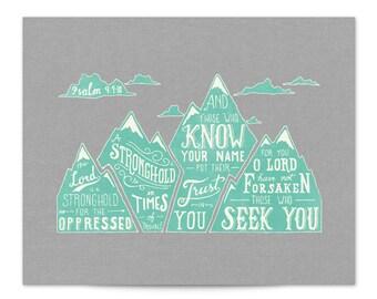 Psalm 9 Hand lettering Scripture art print