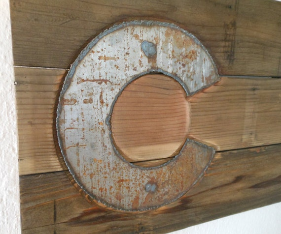 Colorado flag wood metal sign reclaimed by blockfurniture for Reclaimed wood colorado