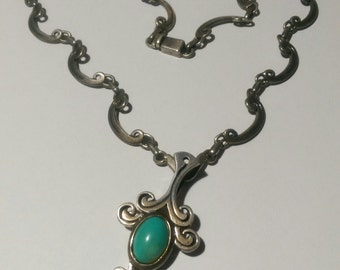 Necklace Pendant Ornate Heavy Scroll Sterling Silver Turquoise Gemstone Hallmarked Collectors Piece