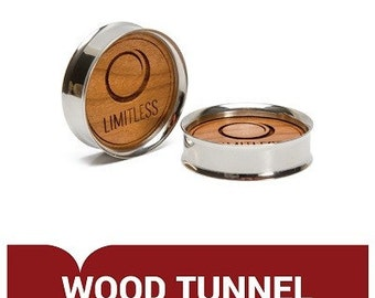 Stainless Steel Threaded Tunnel with Wood Disc - Design Your Own Plug - Price Per 1 (Limit-026)