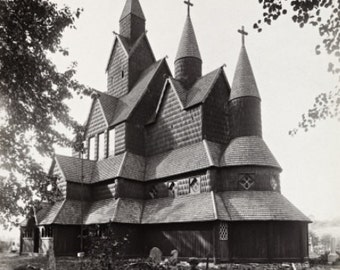 Famous Heddal Stave Church in Notodden Norway 1880s Photo Reproduction 8x10