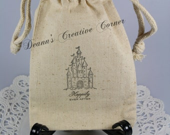 Wedding favor bags - Castles Fairytales Wedding favors - Happily Ever After muslin favor bags