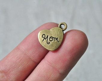 15pcs Antique Bronze Love Heart Charm Pendant Mom Letter Pattern Mother 9x18mm PP871