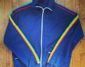 Vintage 1980s Unisex Rainbow Stripe & Navy Track Jacket (EXCELLENT CONDITION)