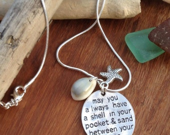 Inspirational pendant 'May you always have a shell in your pocket and sand between your toes', SP Charm & Shell presented on 20inch chain