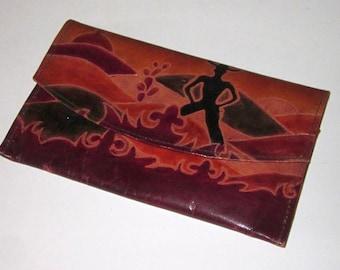 WESTERN COWBOY Motif Clutch Purse/Wallet-Tooled Leather Zipper Pocket Snap Fold-over Wallet