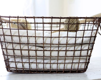 french vintage oyster basket with rusty patina france french industrial french metal basket