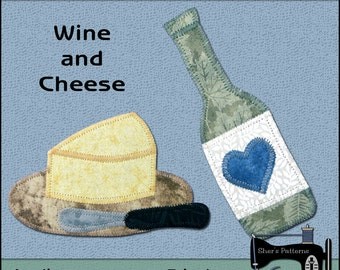 Wine & Cheese Applique Templates - Wine Applique Pattern - Party Applique Template - Sewing Pattern, PDF Pattern, DIY