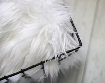 Faux Fur 18x20 White, Photography Backdrop, Newborn Photo Prop, Faux Fur Fabric, Basket Filler, Layering Blanket