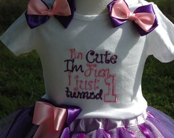 Baby Girl 1st Birthday Tutu Outfit-Purple Tutu -First Birthday Purple Tutu Dress-Birthday Photo Prop,sewn at the waist,includes bows