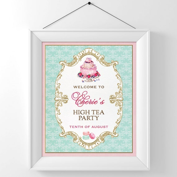 High Tea Party Sign Kitchen Tea Bridal Shower Sign Welcome