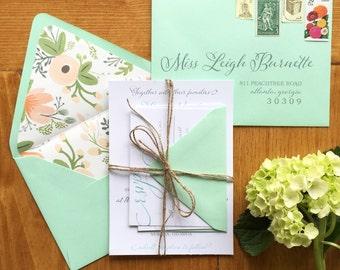 Rustic Glam Whimsical Wedding Invitation   Floral Liner Invite   DEPOSIT to BEGIN