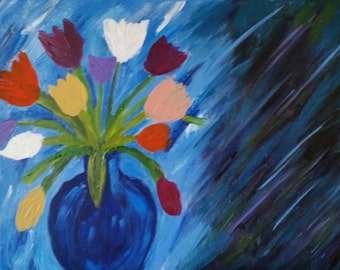 Original abstract,Vase Of Blossoms