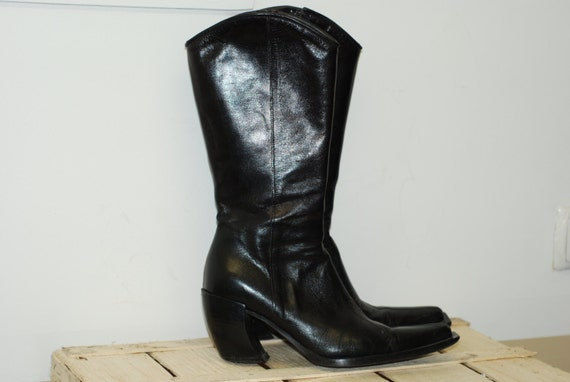 vintage italian leather boots black genuine by
