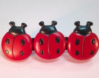 Ladybug Barrette | Lady Bug French Barrette | Lady Bug Metal Barrette|  Bug| Ladybug Hair Accessory| Ladybug Button Barrette| Ladybug Clip