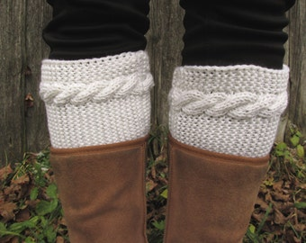 Boot Cuffs, merino wool boot cuffs, Knitted Leg Warmers white merino tinge EASY with Cable, Winter accessory, Handmade